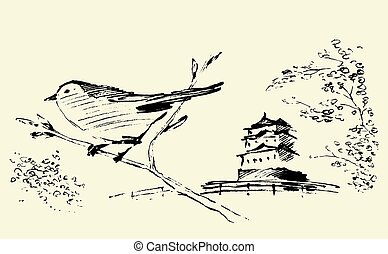 Oriental sakura bird drawn vector sketch