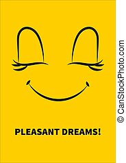 Pleasant dreams - Yellow positive card with wish of pleasant...