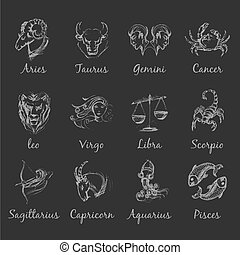 Astrology zodiac light graphic signs on dark background....