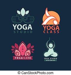 Yoga studio body and mind logotype illustrations set - Yoga...