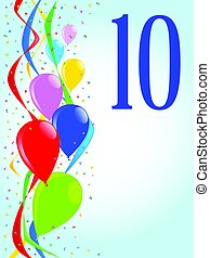 10 Balloons and Confetti Party - Multi coloured balloons,...