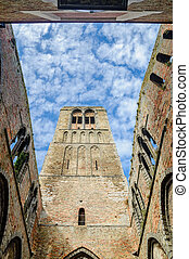 Ruin of old church by Bruges - View of Ruin of old church by...