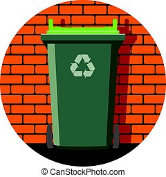 vector icon of recycling wheelie bin against the brick wall...