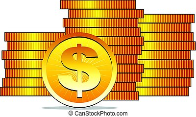 vector golden dollar coins, earn money advertisement concept