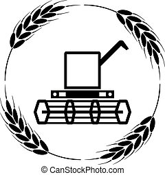vector icon of combine harvester and wheat ears