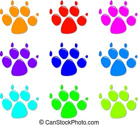 vector set of colorful dog's foot prints, flat style