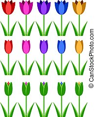 vector set of colorful tulip icons, abstract flower symbols