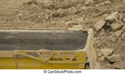 Loading of the truck in a quarry - Time lapse close up of...