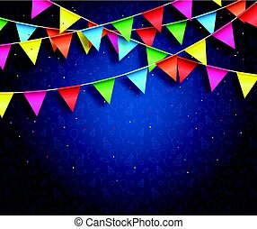 Streamers background design with birthday patterns