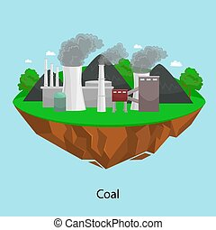 alternative energy power industry, coal power station factory electricity on a green grass ecology concept, technology of renewable station vector illustratin