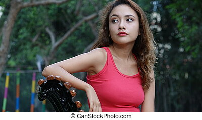 Serious Or Worried Woman Alone