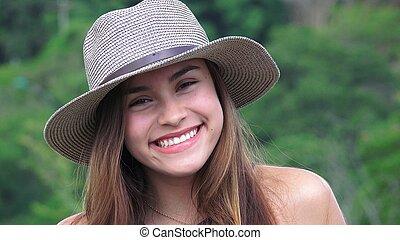 adolescente, Desgastar, sorrindo, chapéu, menina