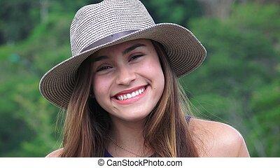 adolescente, Desgastar, menina, chapéu, Feliz