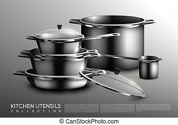 Realistic Kitchen Utensil Collection - Realistic kitchen...