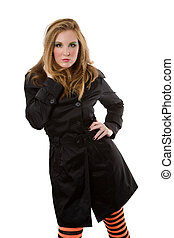 Trench Coat - Fashion model in trench coat on white...