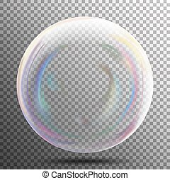 Air Bubble. Glow White Transparent Bubble With Light Transparent Shadow And Reflection, Shiny Sphere. Vector Illustration