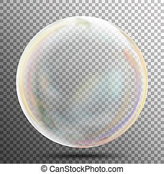 Multicolored Transparent Soap Bubble On A Plaid Background. Vector Illustration