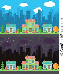 Vector city with cartoon houses and buildings in the day and night.
