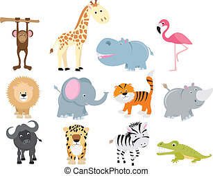 cute wild safari animal cartoon set - set of animal icons...