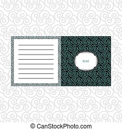 Notepad design with blue geometric pattern