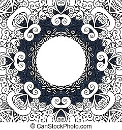 Decorative frame with line floral ornament
