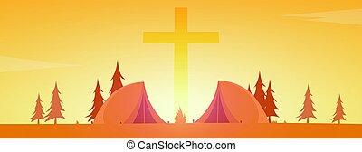 Christian summer camp. Evening Camping. Cross. Vector...