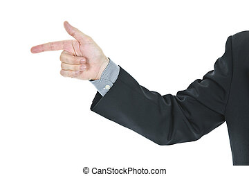 Man pointing finger - Hand of a business man pointing finger