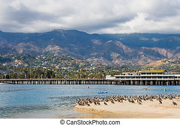 Santa Barbara Wharf - A view of Stearns Wharf and Santa...