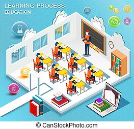 Pupils study in the classroom. Concept of learning. Isometric flat design. Vector illustration.