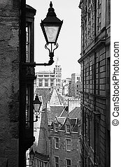 Old Town, Edinburgh - A lantern in an alleyway in the Old...