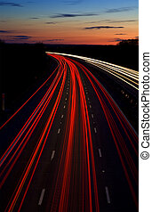 motorway light trails