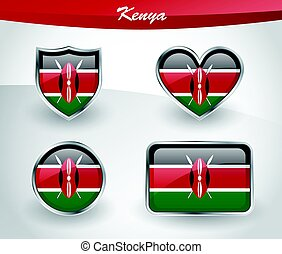 Glossy Kenya flag icon set with shield, heart, circle and...