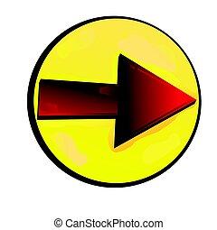 Red arrow in bubble - Red arrow in yellow bubble