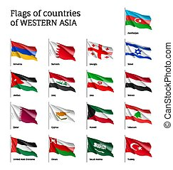 Flags on flagpole Western Asian - Set of waving flags of...