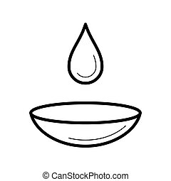 Contact lens with a moist drop icon, vector illustration -...
