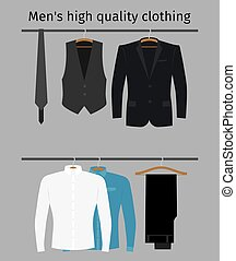 Gentleman clothes set on a hanger