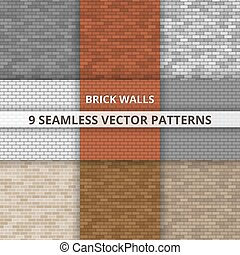 9 Seamless vector patterns. Brick wall paterns. Abstract background