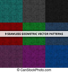 9 Seamless geometric vector patterns. Abstract background