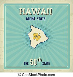 Hawaii travel vintage grunge poster