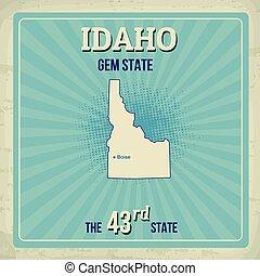 Idaho travel vintage grunge poster