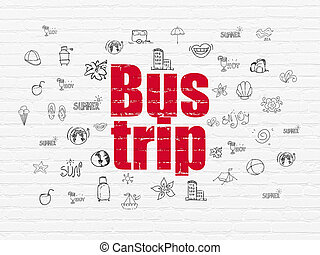 Tourism concept: Bus Trip on wall background - Tourism...