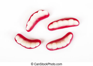 Sweet jelly jaws on white background