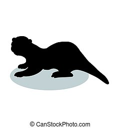 Otter mammal black silhouette animal. Vector Illustrator.