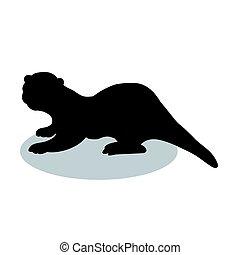 Otter mammal black silhouette animal. Vector Illustrator.