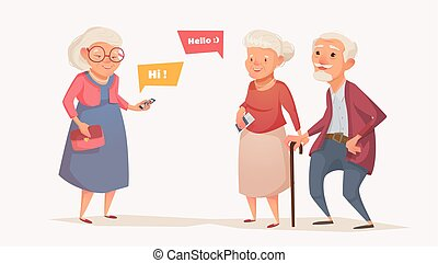 Elderly couple and an old woman in the style of a cartoon.
