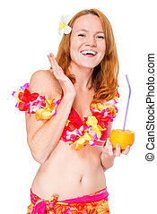 Smiling happy woman in Hawaiian clothes posing on white...