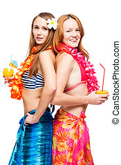 Two young girlfriends in bikini in Hawaiian image with...