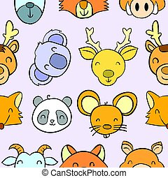 Collection stock animal funny doodles