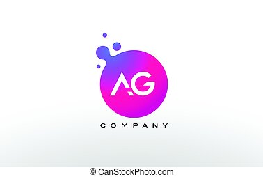 AG Letter Dots Logo Design with Creative Trendy Bubbles. -...