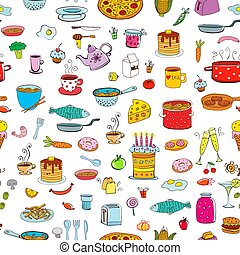 Seamless background meal and ware in doodle style. -...